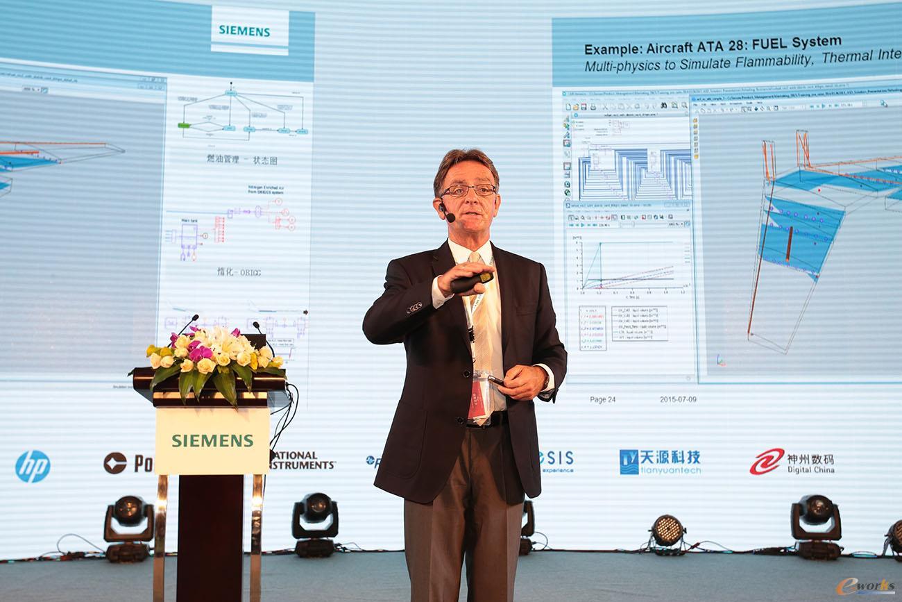 Siemens PLM Software仿真与试验业务全球副总裁Dr. Jan Leuridan发表演讲