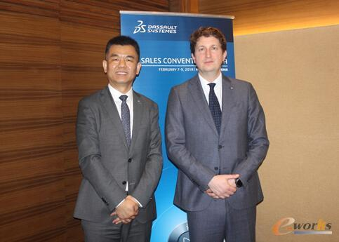 达索系统全球渠道销售负责人Guido Porro先生(右)和达索系统大中华区营销渠道副总裁李智军先生(左)