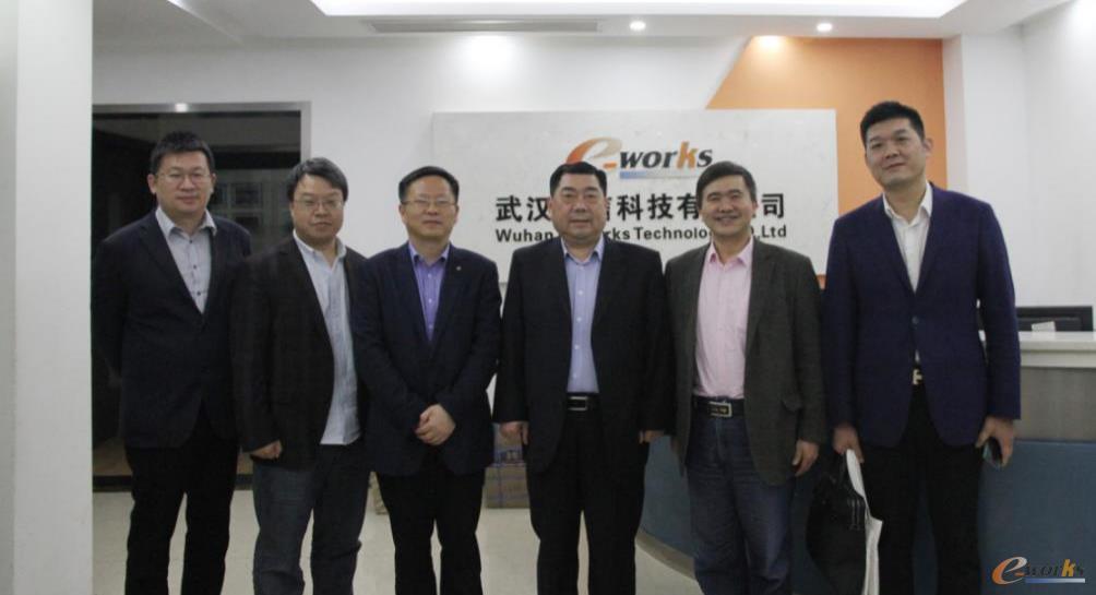 李德璋副市长(右三)、段细柱局长(右四)等领导与e-works公司领导合影