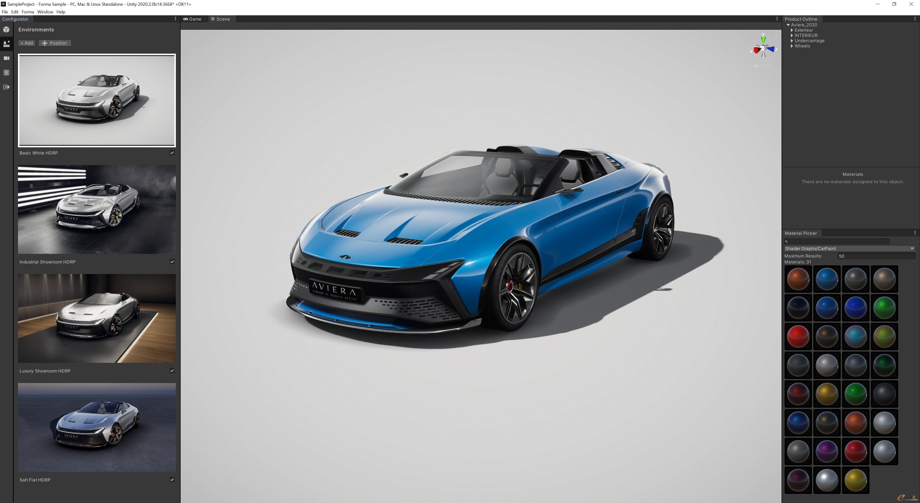 使用Unity Forma创建的样品车模型