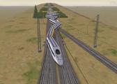 模拟火车超速脱轨事故