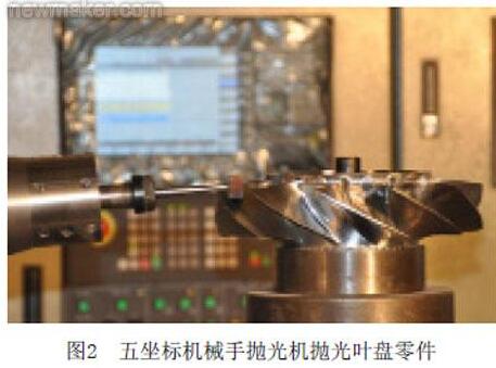 五坐标机械手抛光机抛光叶盘零件