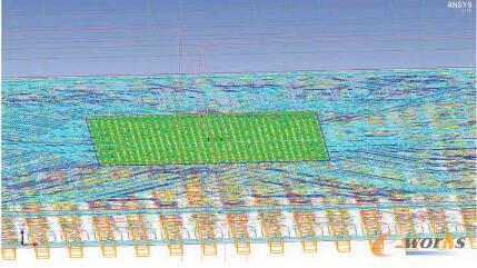 图1 在ANSYS Icepak中建模的PCoIP零客户端PCB铜线迹,基板上裸片作为热源,有两个DRAM器件、一个闪存器件和一个音频编解码器。
