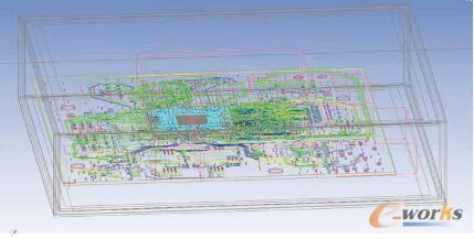 图2 在ANSYS Icepak中建模的PCoIP零客户端PCB铜线迹,基板上裸片作为热源,有两个DRAM器件、一个闪存器件和一个音频编解码器。