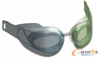 图3 速比涛利用ANSYS DesignModeler优化新一代泳镜的总体外形,包括透镜与眼睛的相对位置、鼻梁架设计和契合度、侧壁组成以及泳镜密封性