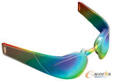 图7 利用ANSYS Mechanical分析三种不同聚合物材料的弹性和强度,选出最适合用于泳镜鼻托的材料