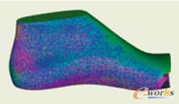 天伯伦(Timberland)用Geomagic Studio自动全局拼接工具将鞋的多次扫描对齐到一起