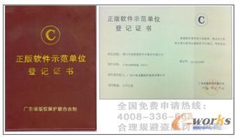 正版软件示范单位登记证书