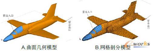 图1 飞机在CADFEKO中的电磁模型