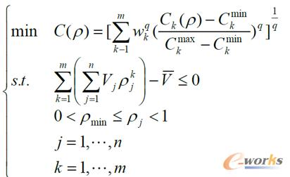 公式1 多工况拓扑优化的数学方程