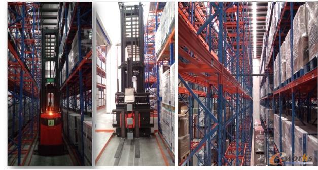 图4 高架叉车及五层高架货架实现仓库改善
