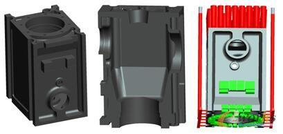 图1 机体零件、铸件及铸造工艺模型