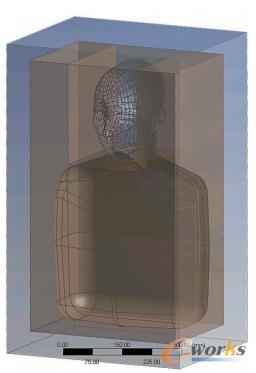 图1 用于声学仿真的头部和躯干周围的真空区