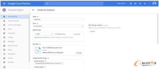 谷歌计算创建虚拟机实例