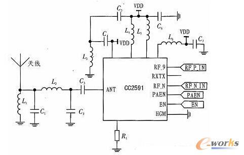 CC2591功率增加模块电路图