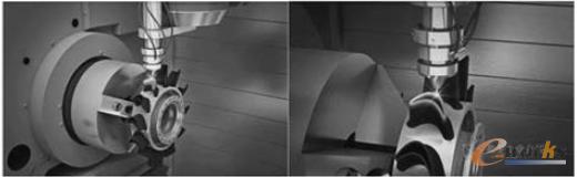 图2 加装激光烧结头的加工中心正在烧结加工