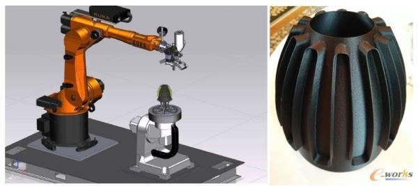 西门子展示的机器人加工与增材制造集成应用案例