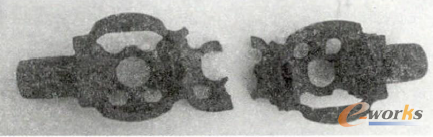 图2 未添加支撑结构成型的水套砂芯