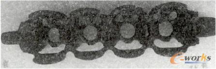 图4 添加支撑结构后成型的水套砂芯