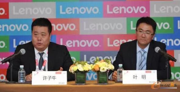 联想集团副总裁、中国区商用业务销售总经理叶明(右),联想集团中国区商用业务企业行业总监许子牛(左)