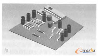 图10 电路板装配后示意图-MBD产品设计中的三维元器件装配设计方法