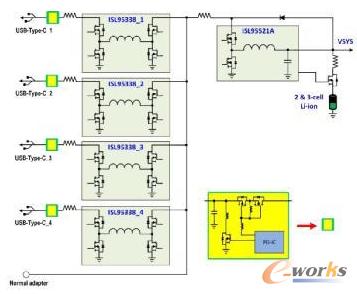 实现4个usb-c端口的intersil电池充电器架构 - 4个降压-升压稳压器 1