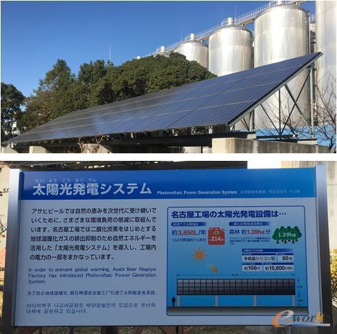 朝日啤酒公司厂区内的太阳能发电板