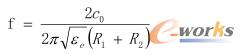 公式1 谐振频率计算公式