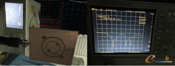 图4-3 天线的回波损耗与驻波比的实测图