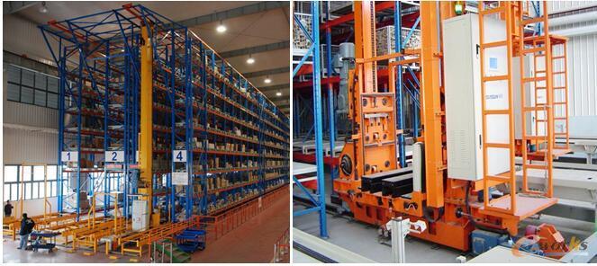 左:单立柱堆垛机、右:双立柱堆垛机