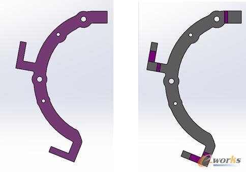 图2 对比:使用Logopress折弯件展开结果    使用QuickPress展开结果