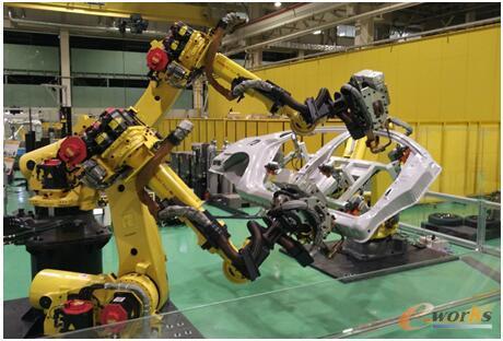 三台焊接机器人协同作业