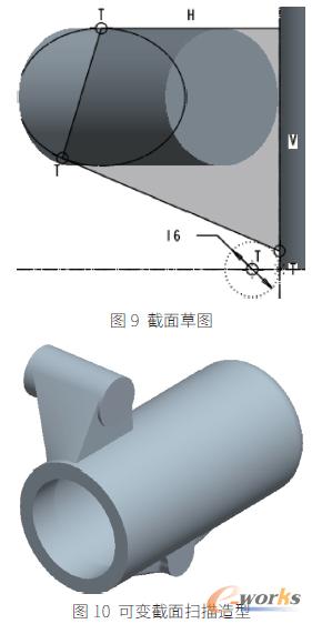 10 中的拉伸圆柱与可变截面扫描特征的除料,形成图11 中的厚度为图片