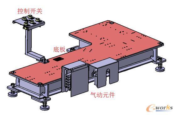 图2 焊接夹具底座结构 2.2.2 焊接夹具定位/夹紧机构解析 典型焊接夹具定位/夹紧机构由定位销、支撑块、压紧块、连接块、限位块、压臂、立板、支座、气缸等零件组成。定位销主要起到产品定位的作用,支撑块、压紧块主要起到固定产品的作用,限位块主要起到定位加紧点的作用,气缸主要起到执行打开、加紧等动作的作用,其余零件为辅助性连接零件。其中定位销用于定位产品,需要在X、Y方向可调,支撑块、压紧块用于固定产品,一般需要在X或Y方向上可调,通过连接块的形式可调整方向,通过调整连接块之间的垫片厚度可调整位置。典型焊