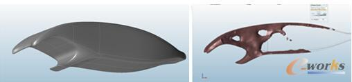 图:利用solidThinking Evolve构建新的优化空间(左)    利用solidThinking Inspire进行新结构优化(右)