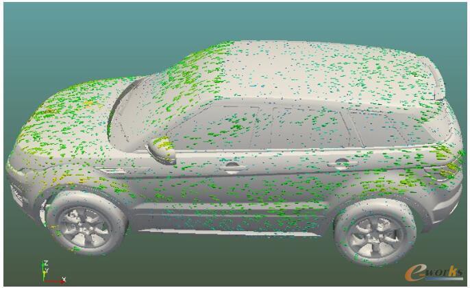 车身表面速度分布矢量图