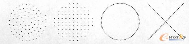 四种不同声听器阵列(从左到右依次为:螺旋、矩阵、圆环形和X形分布)
