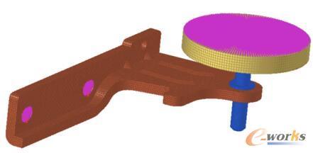中铰链轴向压缩有限元模型