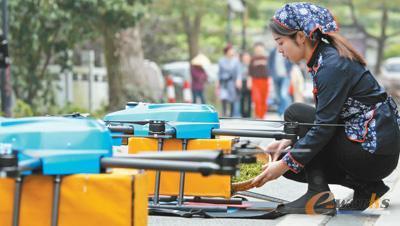 菜鸟无人机在杭州龙井村运送龙井茶