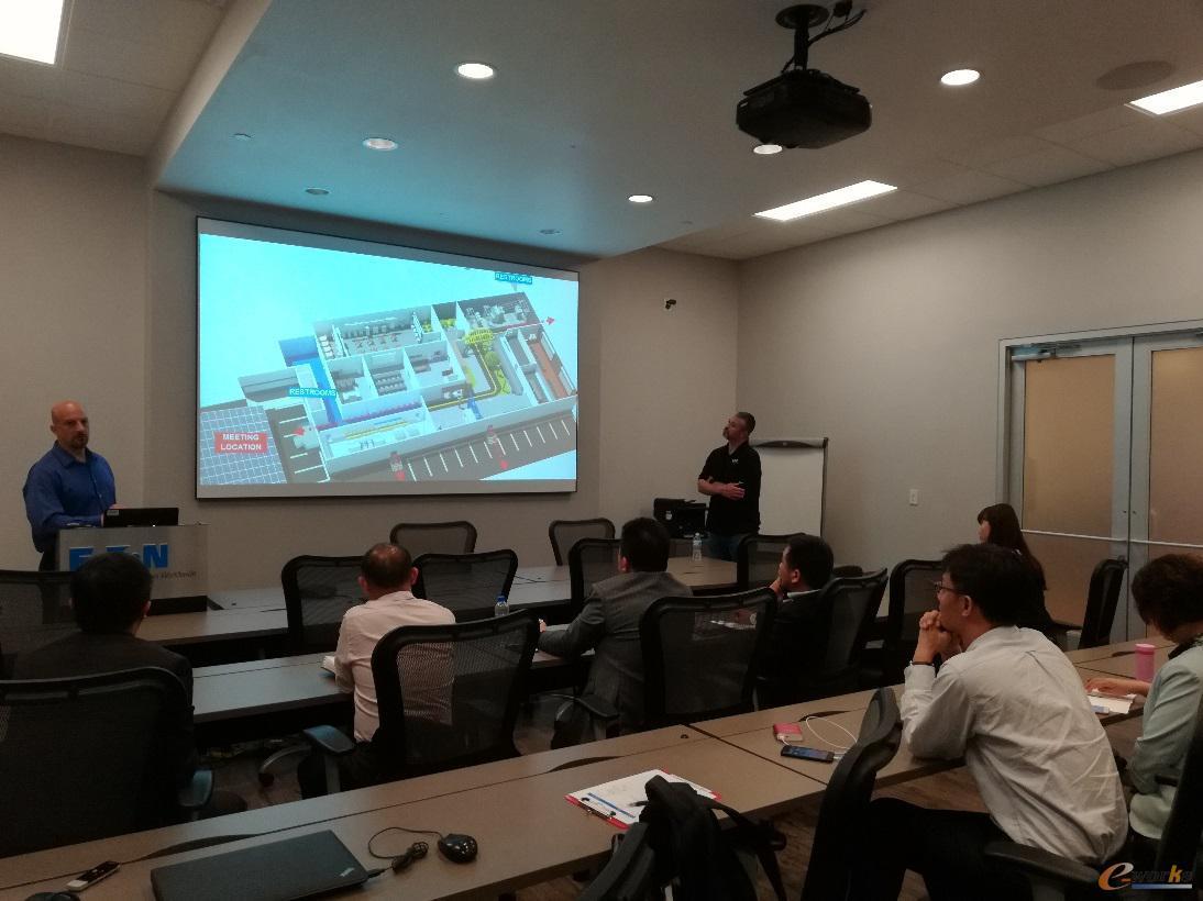 考察团成员参观伊顿电气能源系统体验中心