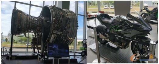 川崎展厅里展示的航空发动机和摩托车