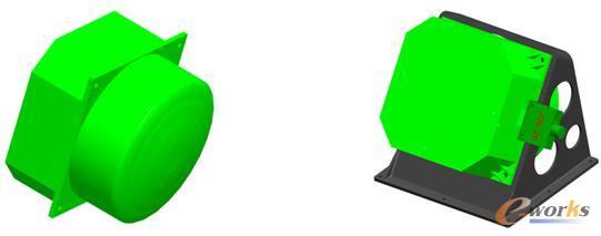 卫星斜装动量轮支架优化前三维模型