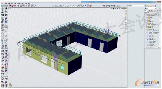 通过相关操作工具,完成上建模型