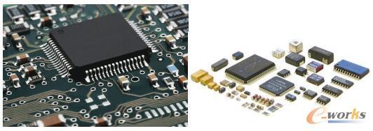 采用SMT技术的PCB板(左)及表面安装元件SMD(右)