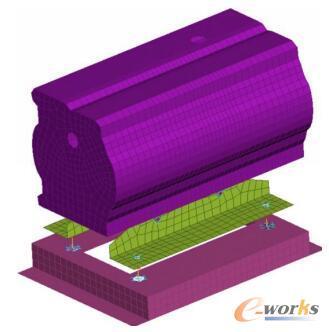 电池热管理机组局部有限元模型