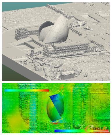 基于索辰Aries软件的上海航海博物馆台风工况(20m/s)全细节仿真