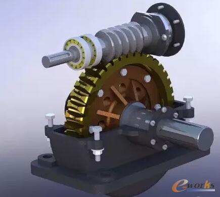 一级圆柱蜗杆减速器