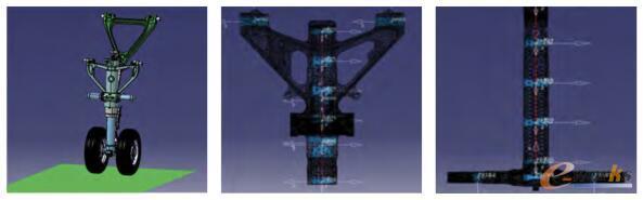 使用Simcenter 3D 建立的参数化起落架仿真模型