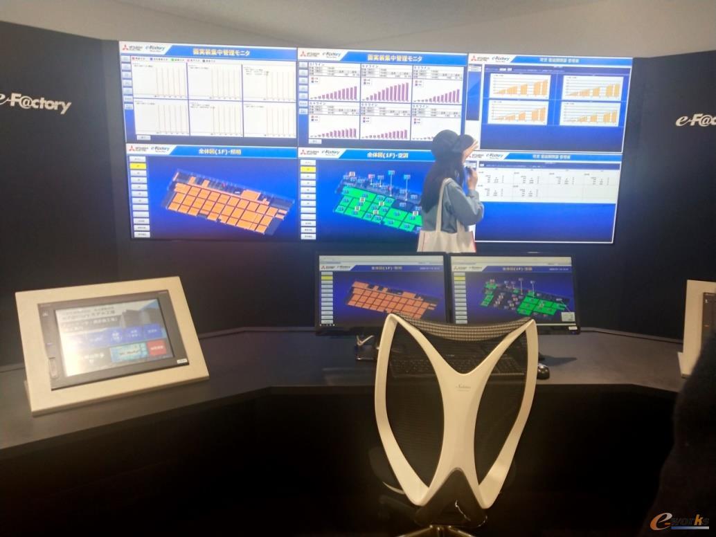 电子屏幕上可以反映工厂的实时数据