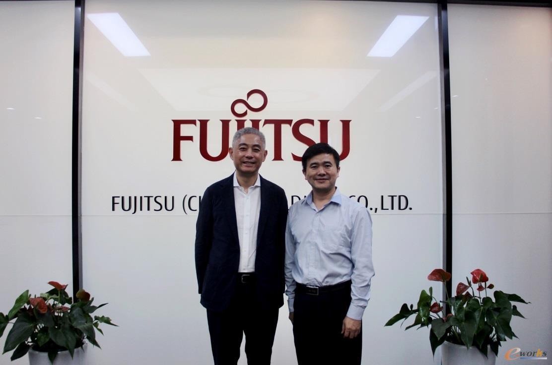 富士通(中国)信息系统有限公司CEO薛卫与e-works总编黄培博士合影